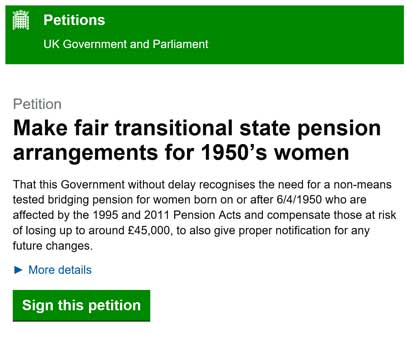Waspi Petition Image. Fair Transitional State Pension